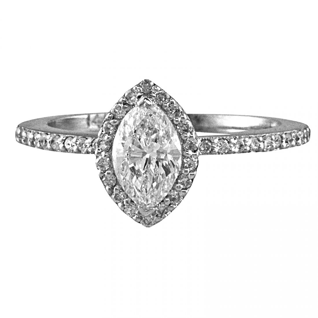 EGL Certified 1.00 CTW Marquise Cut Halo Style Diamond