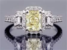 1.79 Tcw Radiant Cut Fancy Yellow Diamond