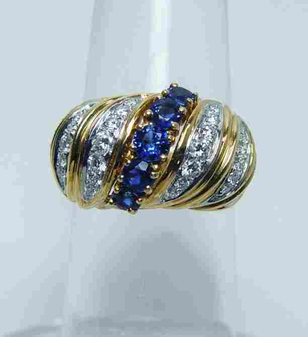 TIFFANY & Co Sapphire Colorless Diamond Ring 18K Gold H