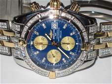 Mens Breitling Chronomat Evolution 18K Gold Diamonds