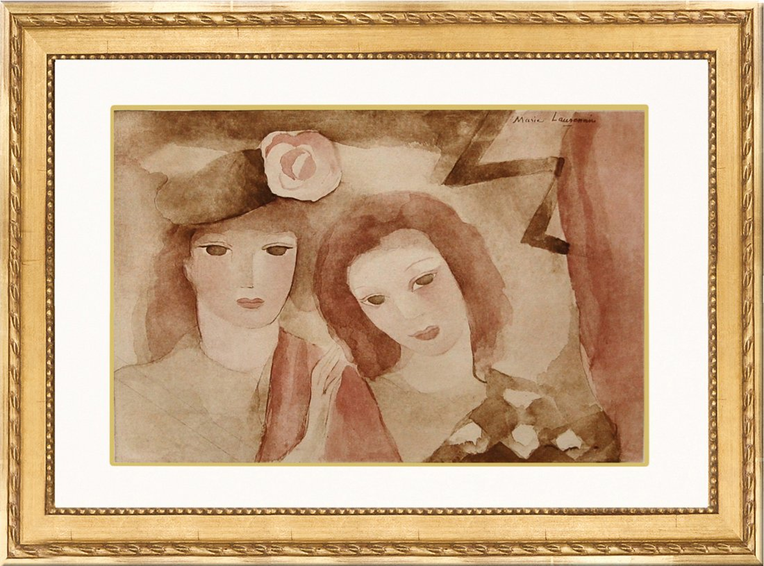 "Vintage Lithograph ""Two Girls"" by Marie Laurencin"