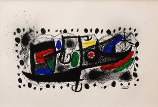 "Vintage Lithograph ""Star Scene\"" by Joan Miro"