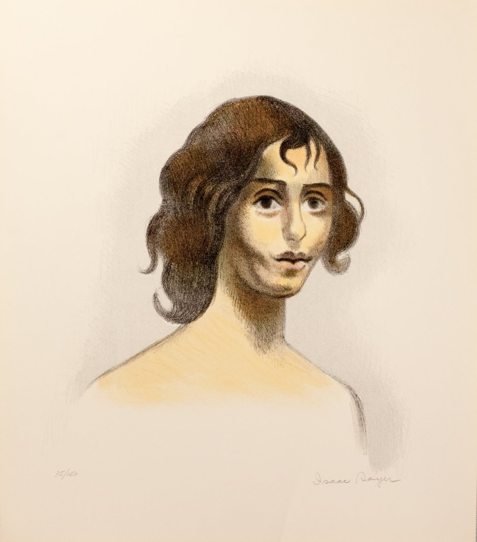 Vintage Lithograph Head of a Girl by Isaac Soyer
