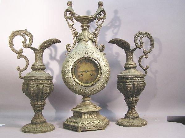 3: Three Piece Victorian Spelter Clock Set