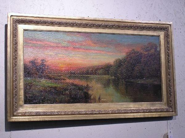 11: American School Oil on Canvas Lake Scene