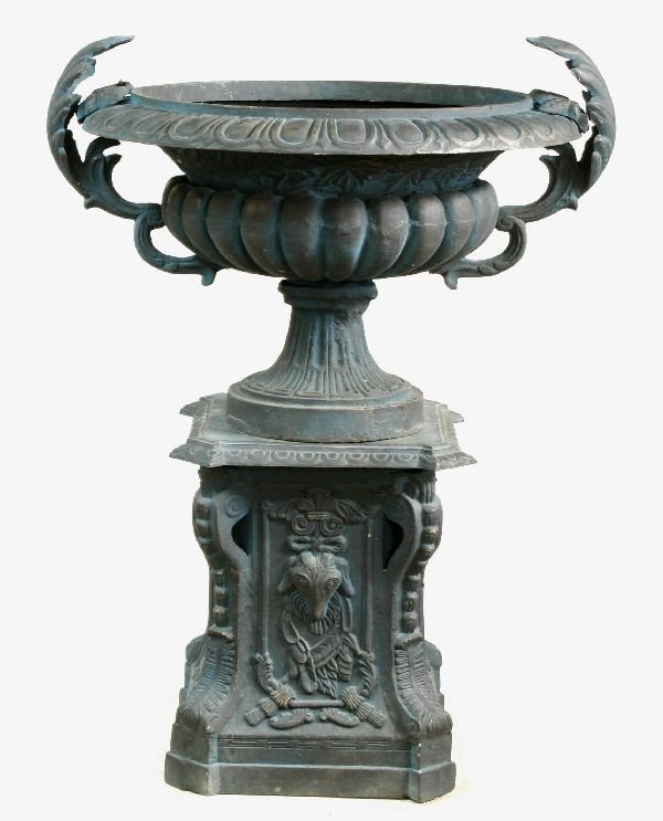 16: Pair of Cast Iron Garden Urns