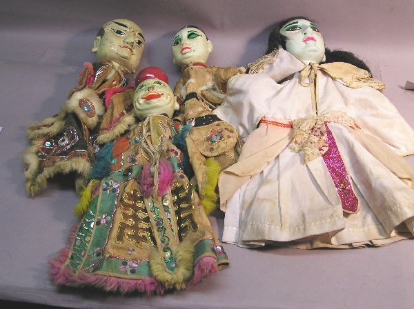 17: Set of Four Hand Painted Hand Puppets
