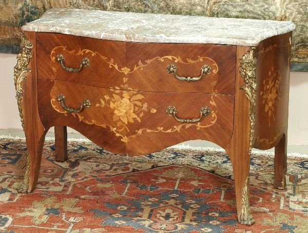 1010: French Marble Top Bombe Commode