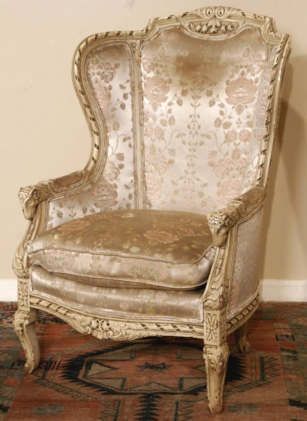 1018: French Ram's Head Wingback Chair