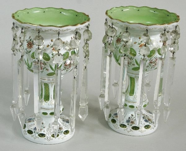 17: Pair of Cameo Case Glass Lusters