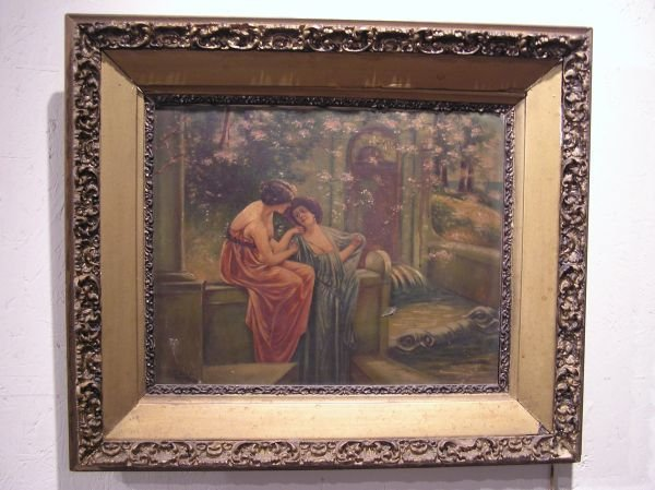 25: Artist Signed Oil on Canvas of Two Ladies