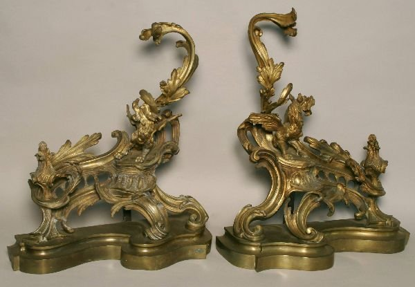 93: Pair of French Bronze Chenet with Dragon Motif