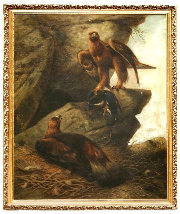 105: Large Oil on Canvas of Eagles