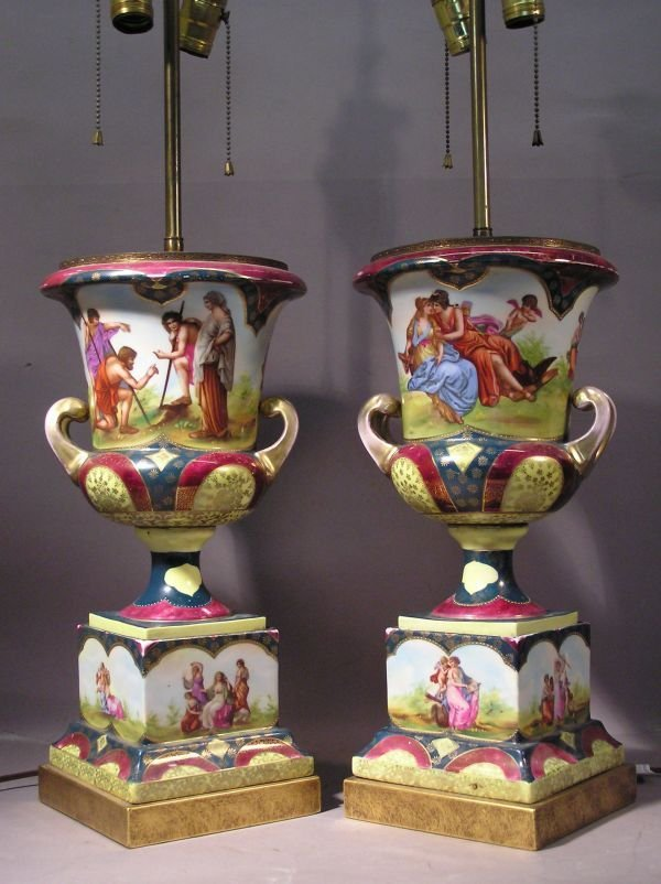 1001: Pair of Vienna Austria Kaufman Style Lamps