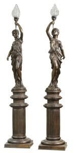 """1004: PAIR OF BRONZE LADY TORCHERES  8'5"""" TALL"""