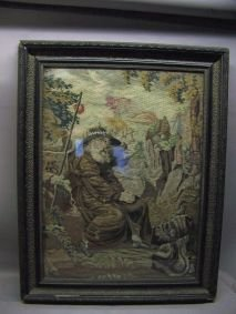 1005: FRAMED NEEDLEPOINT OF GENTLEMAN WITH STAFF