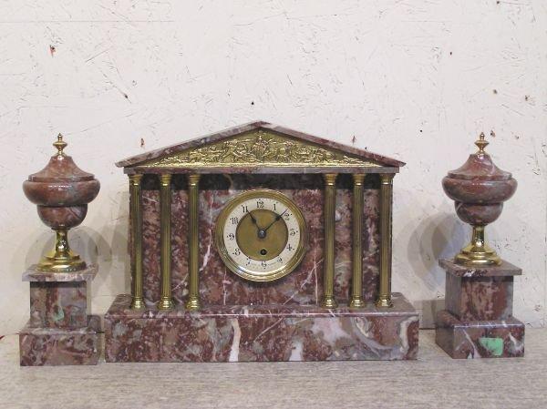 1011: Three Piece Marble Clock Set