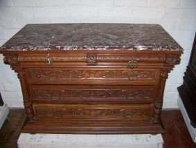 1018: HANDSOME FRENCH MARBLE TOP CHEST