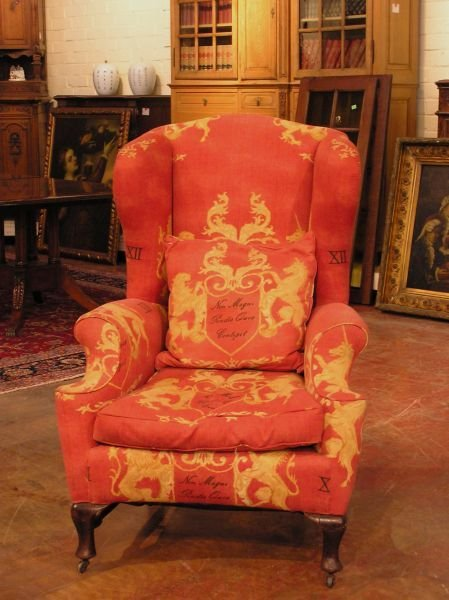 1022: Early Queen Anne Wing Back Chair