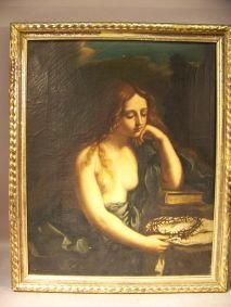 1095: OIL ON CANVAS-QUERCINO, THE PENITENT MAGDALEN
