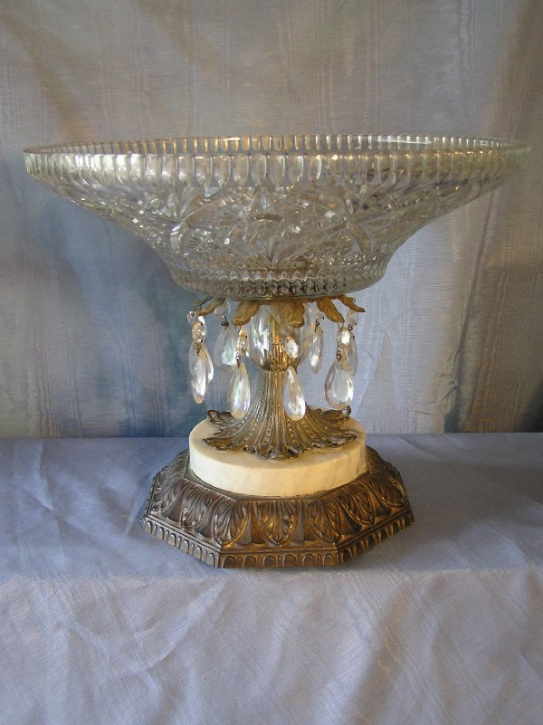 1: Cut Glass Compote with Marble and Metal Base
