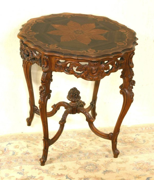 7: Inlaid Table with Carved Detail 206-27