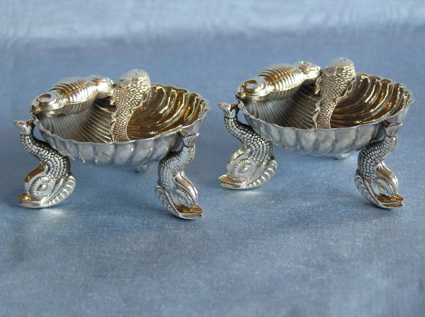 12: Pair of Shell Shaped Sterling Silver Salts  101