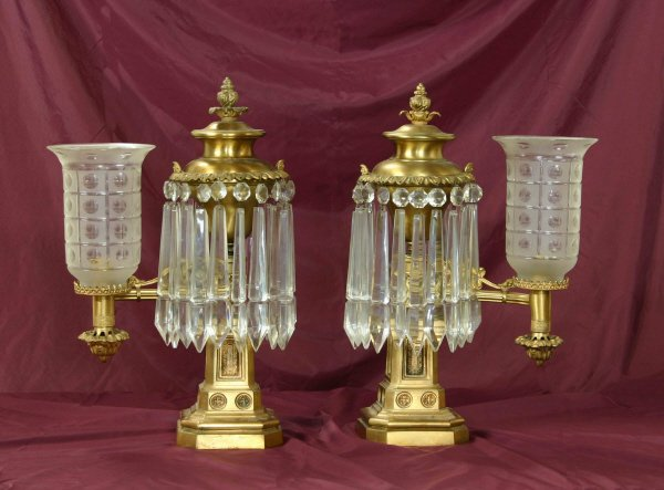 22: Pair of Clark Coit & Cargill Astral Lamps 803-60