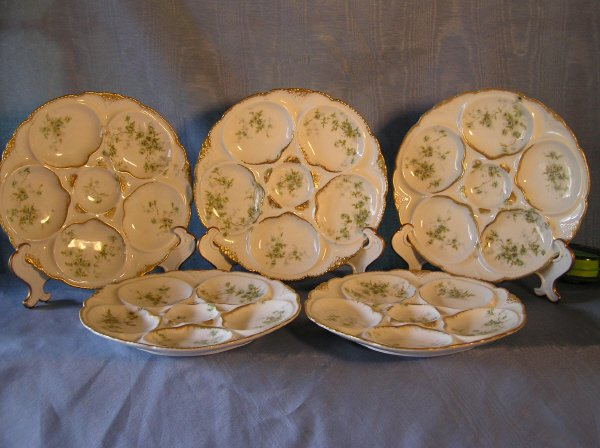 24: Set of 5 Limoge Oyster Plates  803-10