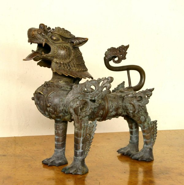 59: Ornate Bronze Foo Dog  803-3