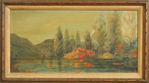 1: CABIN ON LAKE OIL PAINTING