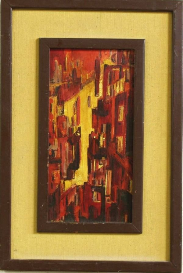 7: OIL ON BOARD MODERNISTIC CITYSCAPE