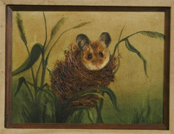 15: CUTE NESTED FIELD MOUSE OIL IN CANVAS