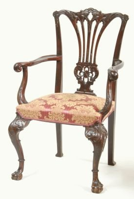 1014: CHIPPENDALE MAHOGANY ARM CHAIR