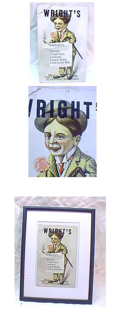 "3024: Vintage Advertising Display ""Wright's Cough Cure"""