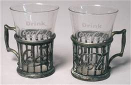 3065 Two Vintage CocaCola Mini Glass Holders Coke