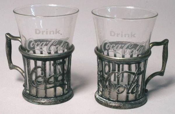 3065: Two Vintage Coca-Cola Mini Glass Holders Coke