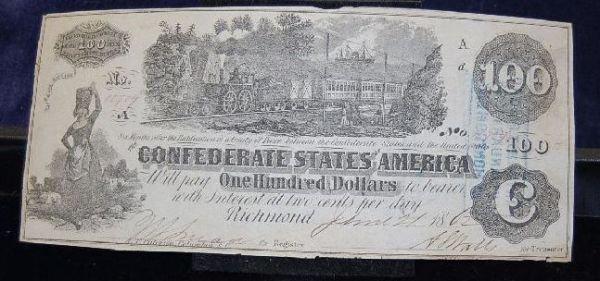 1015: CONFEDERATE STATES $100 DOLLAR NOTE