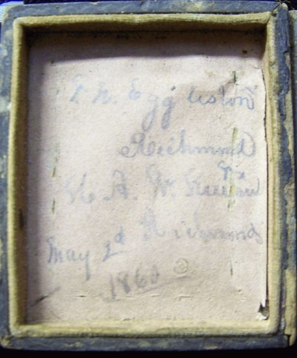 1021:MILITARY TIN TYPE IN CASE SIGNED 1860