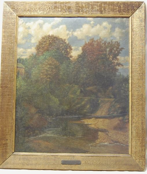 2016: EDWARD TENNENT OIL ON BOARD- BROOK IN FOREST