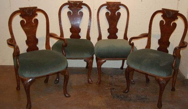 3012: SET OF 8 QUEEN ANNE BURL WALNUT DINING CHAIRS
