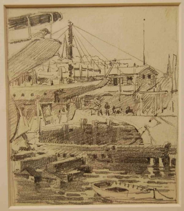 15: GRAPHITE DRAWING 'HARBOR SCENE' by F. LUIS MORA