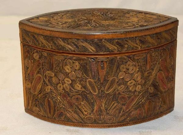 7: RARE ROLLED PAPER TEA CADDY