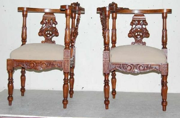 2: PAIR OF ITALIAN CARVED CORNER CHAIRS
