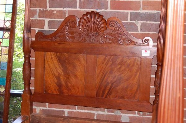 8: EARLY SHELL CARVED FOUR POST BED