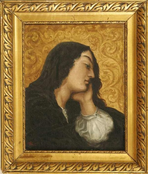 1105: PORTRAIT OF SPANISH LADY  OIL ON CANVAS - MAGNELL