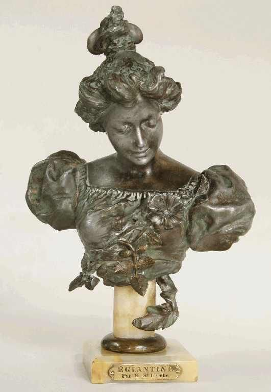 1121: ANTIQUE BUST OF ELEGANT LADY  11 INCHES TALL