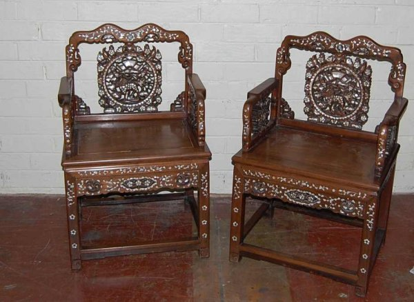 1106: PAIR OF ANGLO - INDIAN ARM CHAIRS