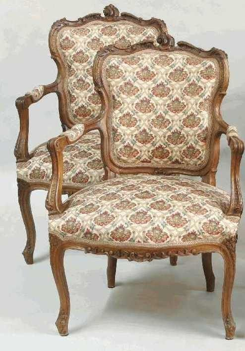 1116: PAIR OF CARVED FRENCH ARM CHAIRS