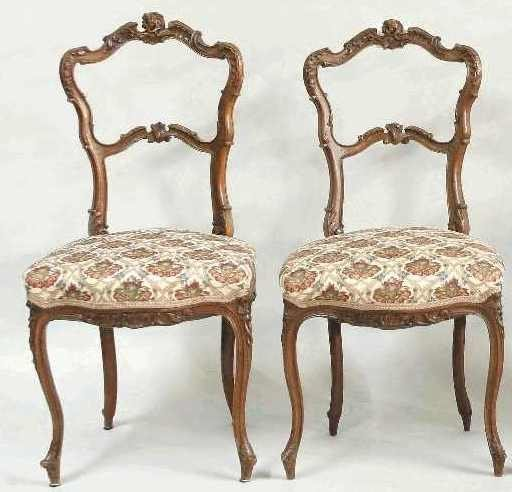 1124: PAIR OF CARVED FRENCH CHAIRS